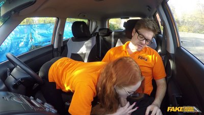 FakeDrivingSchool – Nerdy Ginger Seduces Instructor